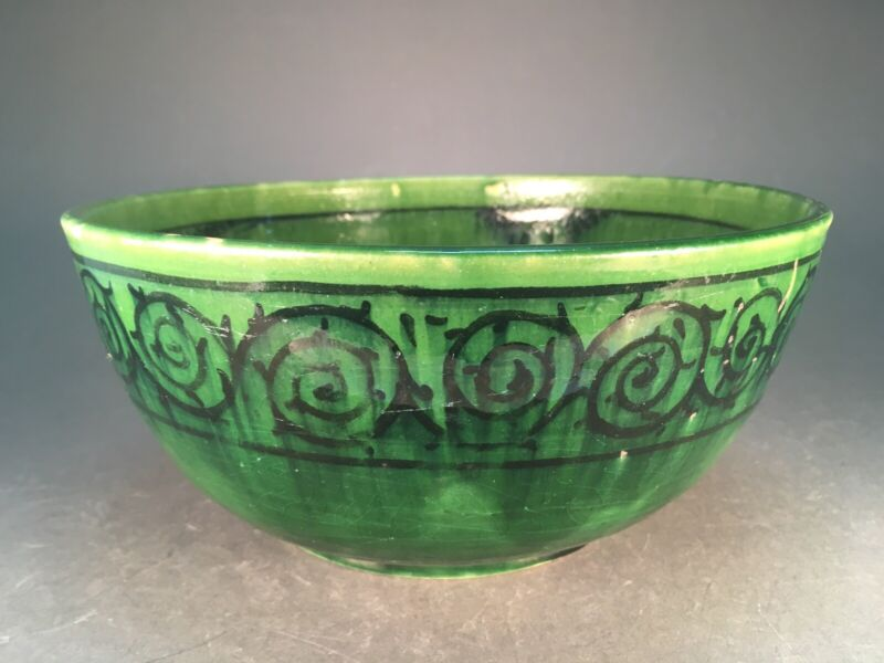 Arts and Crafts Green Art Pottery Old Ceramic Bowl