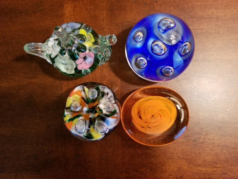 Lot Of 4 Art Glass Paperweights