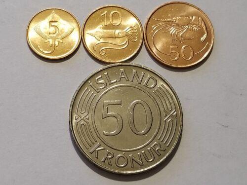 Iceland 5, 10, 50 Aurar & KEY DATE - 1973 Iceland - 50 Kronur