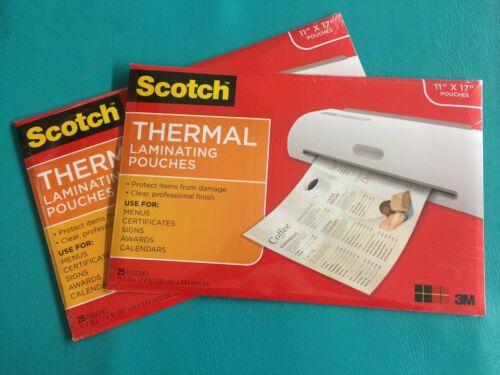 50 pcs 2 Packs 25 Scotch 3M Menu Sign Size Thermal Laminating Pouches 11 x 17