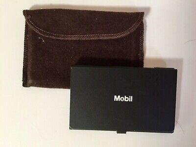 Vtg MOBIL OIL Co Memorabilia- Solar Calculator-Velour Pouch-Pre 1994-Pocket Size