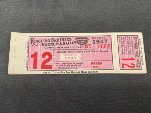 1947 Ringling Brothers B&B Circus Tickets, Book of 25 for Press, New and Unused