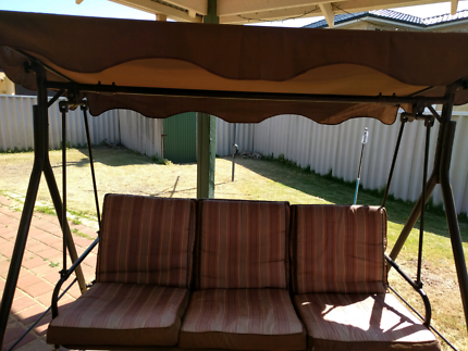 Jarrah 4 seater and table plus 3 seater swing chair $85.00