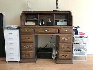 Vintage Solid Oak Roll Top Secretary Desk
