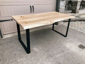 Live edge wormy maple harvest table