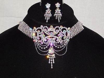 Iridescent Set - Clear & AB Iridescent Rhinestone Choker Bridal Party Necklace Earrings Set