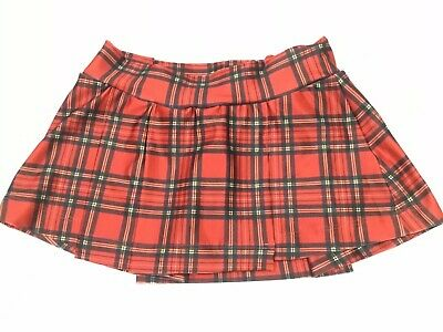 New Girls Juniors Uniform Skort Red Tartan Plaid XS Great For Dance Cheer Teams