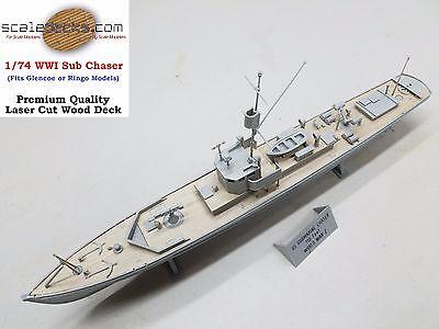 Wood Deck for 1/74 WWI Sub Chaser Glencoe or Ringo kits by Scaledecks.com