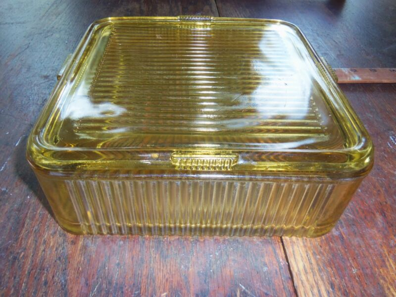 Refrigerator, Glass dish with lid ,yellow, 8 1/2 X 8 1/2,  vintage, pre-owned