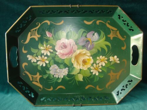 "Vntg Green Metal Cottage Tole Hand Painted Cabbage Rose Flowers Tray 18"" X 13"""