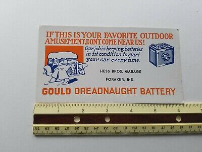 VINTAGE BLOTTER GOULD DREADNAUGHT BATTERY ADVERTISING HESS BROS. IND. 1930s ?