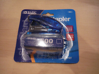 New Bazic Mini Stapler W 500 Staples - Choice Blue Orange Purple Pink Green