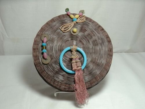 Vintage Chinese Round Woven Wicker Sewing Basket w/ Lid & 1 Original Coin & Ring