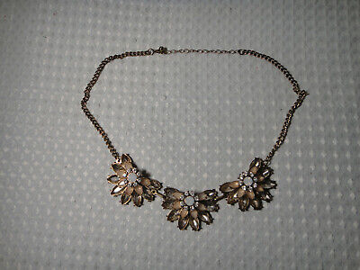 Flower Costume Jewelry - Necklace Costume Jewelry Bronze Tone Flower Floral Crystals