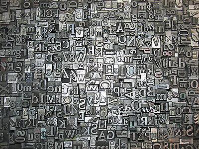 Lot Of 200 Vintage Metal Letterpress Print Type Blocks Alphabet Letters Numbers
