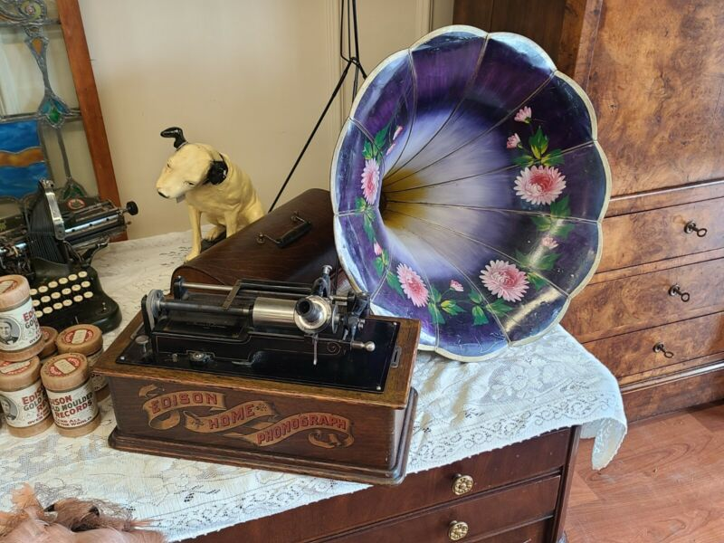 Antique Edison Home Phonograph ~ W/ Stand & Morning Glory Large Horn~ We Ship!