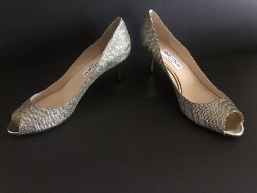 Jimmy Choo Isabel Glitter Leather Peep Toe Low Heel Pump Shoes 415 10511