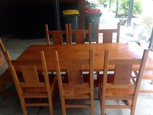 Reclaimed Oregon 8 seat dining table and chairs Gordon Moorabool Area Preview