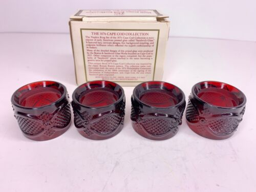 1989 Avon The 1876 Cape Cod Collection Napkin Ring Set of 4 Ruby Red Glass