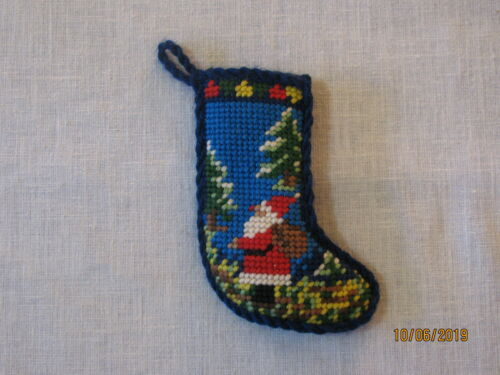 Finished Needlepoint Christmas Stocking Ornament, Santa in Forest, No Tags