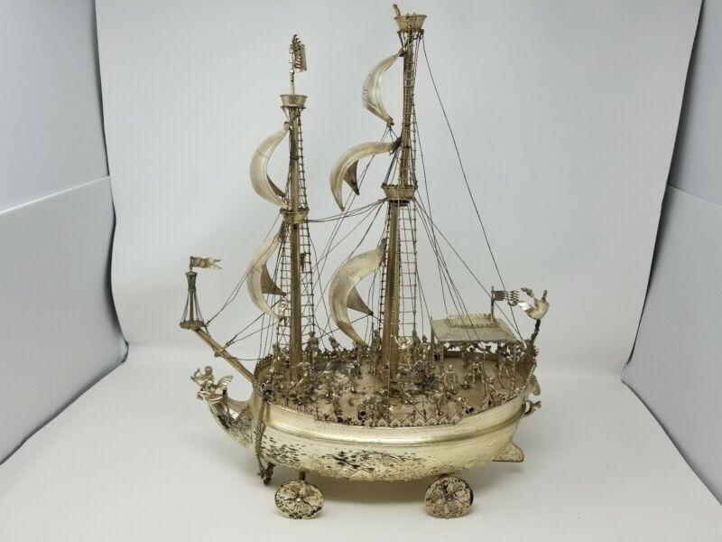 Antique German 800 Solid Silver Neff Ship Handmade Presentation AMAZING HUGE