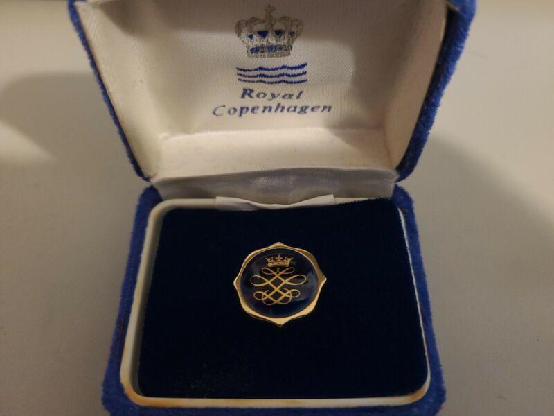 Vintage Royal Copenhagen Blue Crown Porcelain Tie Tack - New Old Stock
