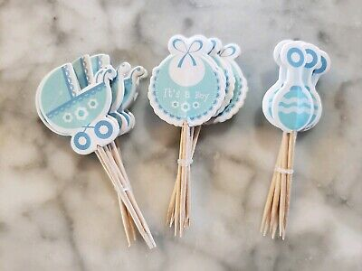Its a Boy Gender Reveal Baby Shower Party Cupcake Toppers Cake Picks Blue 18pcs - Baby Boy Cupcake Toppers