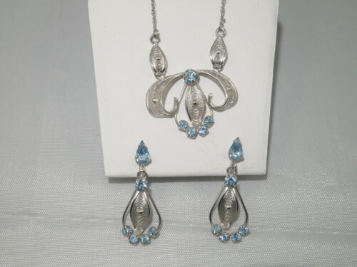 Vintage Espo Flex Sterling Silver Filigree Blue Rhinestone Necklace & Earrings