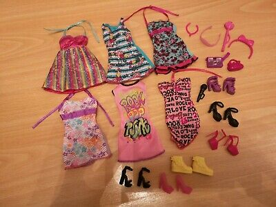 Barbie Doll Clothing and Accessories Bundle includes Dresses Bags Shoes etc
