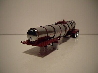DCP FIRST GEAR 1/64 POLAR CORAL RED AND CHROME DEEP DROP RIBBED TANKER TRAILER