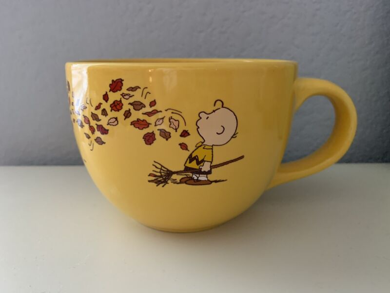 Peanuts Snoopy and Charlie Brown, Blowing Leaves,  Fall/Autumn Very Large Mug