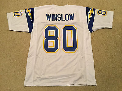 UNSIGNED CUSTOM Sewn Stitched Kellen Winslow White Jersey - Extra Large - Kellen Winslow Jersey