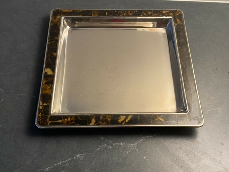 Lauren Ralph Lauren Wentworth Faux Tortoise Shell Edged Silver Tray Trinket