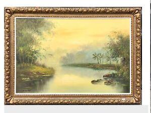Original oil painting in ornate frame