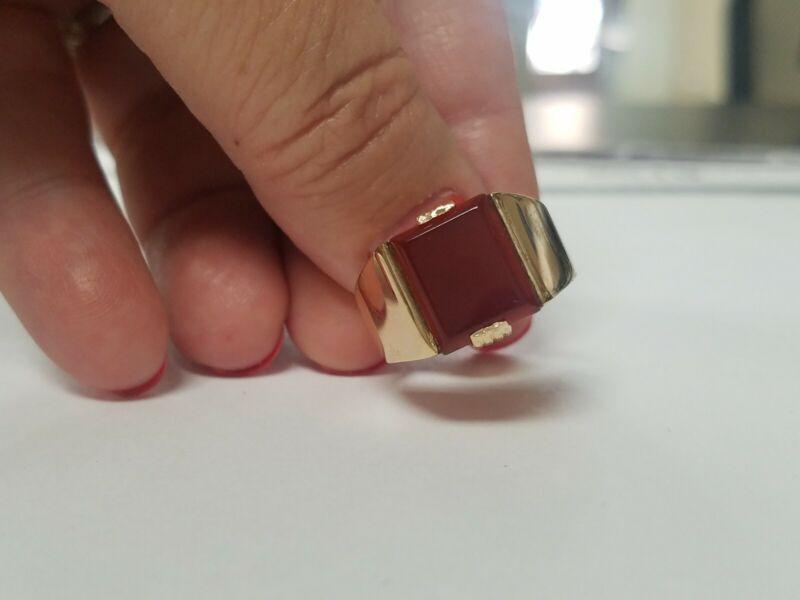 Vintage Mens Carnelian Square Cut 14k Yellow Gold Ring