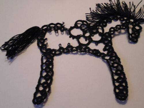 Tatted Black Heart Center Horse by Dove Country Tatting FREE USPS Shipping