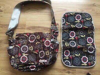 JU JU BE Floral Nappy Print Baby Bag Lu Bag Changing Mat Messenger Style Lotus