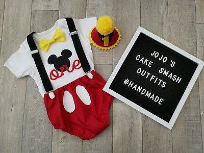 Baby Boys 1st Birthday Cake Smash Outfit. Black Red mickey mouse photo Prop ](Mickey Mouse 1st Birthday Outfit Boy)