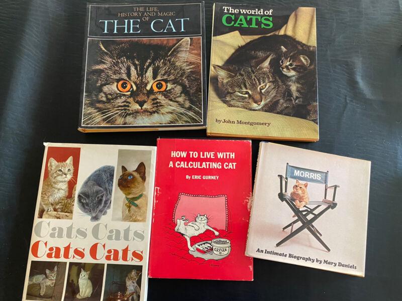 Lot Of 5 Hardback CAT Books.  History, Morris, Calculating Cat, World of Cats