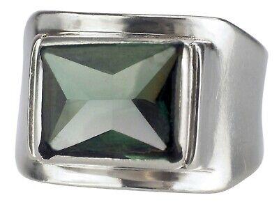 Art Deco 835 Silber Grüner Turmalin Siegel Herren Ring handgefertigt