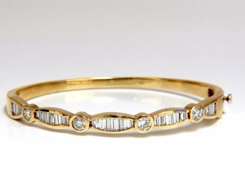 3.50ct Natural Baguettes And Round Diamonds Navette Bangle Bracelet 14kt