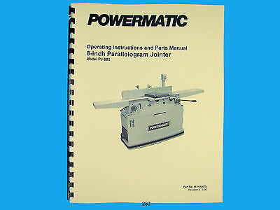 Powermatic Model Pj-882 8 Parallelogram Jointer Instruct Parts Manual 283