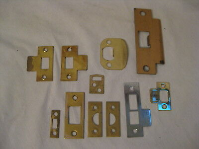 11 vintage door hardware strike plate mixed lot various size jam plates lot