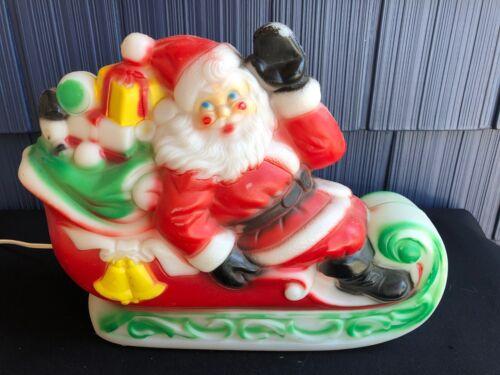 1970 SANTA CLAUS Sleigh w/ Gifts Blow Mold Empire Plastics Christmas Light Z3
