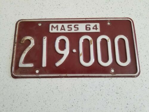 1964 64 MASSACHUSETTS MA MASS LICENSE PLATE COOL NUMBER GOOD CONDITION