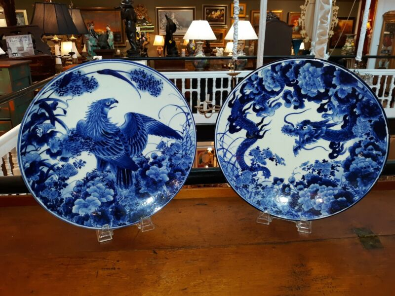 Antique Japanese Blue And White Porcelain Chargers Signed Meiji