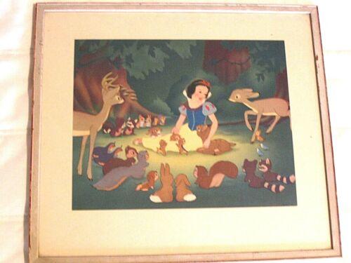 "Vintage ""Snow White"" w/ animals ~ Walt Disney Lithograph ~ marked W.D.P. ~ frame"