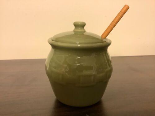 "Longaberger Pottery Green Ceramic 3.5"" Honey Pot"