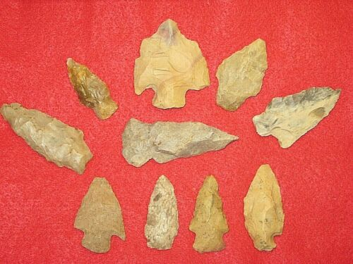 Authentic Native American artifact arrowhead 10) Missouri points / blades BN79