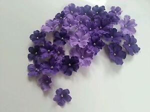 Edible Sugar Purple Shaded Veined Flowers Cupcake Cake Topper 30 Wedding